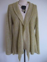 Eileen Fisher Mohair Blend Open Draped Cardigan Sweater L Green Italian Yarn - $84.14