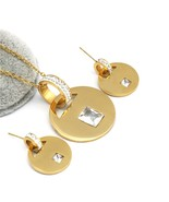 Fashion zircon gold color earings necklace sets for women stainless steel jewelry sets thumbtall