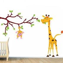 (63'' x 46'') Vinyl Wall Kids Decal Monkey on Tree Branch with Giraffe / Art Hom - $87.77