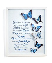 "18.9""  Framed 3D Blue Butterfly Metal Wall Plaque w Sentiment"
