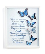 "18.9""  Framed 3D Blue Butterfly Metal Wall Plaque w Sentiment - $64.34"