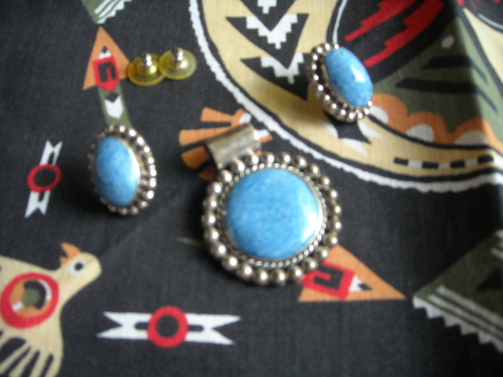 Handcrafted Sterling Silver Pendant & Post Earrings With Blue Stone Mexico TJ 86