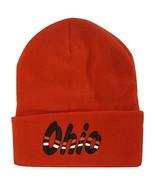 Ohio Adult Size Wavy Script Winter Knit Beanie Hat (Red) - $12.95
