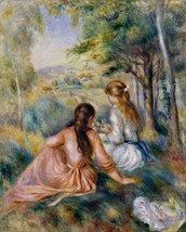 Picking Flowers in the Meadow Painting by Auguste Renoir Art Reproduction - $32.99+