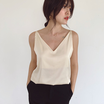 Silver Blue White Sleeveless Chiffon Tank V-Neck Sleeveless Chiffon Casual Tops image 6
