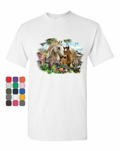 Cute Horses Foal Mare T-Shirt Farm Countryside Nature Pony Rural Mens Tee Shirt - $12.99+