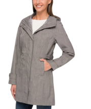 NEW Kirkland Signature Ladies' Light Grey Trench Rain Coat Hooded Jacket Large image 3