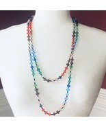 Vintage Rainbow Crystal Necklace Extra Long - $26.99