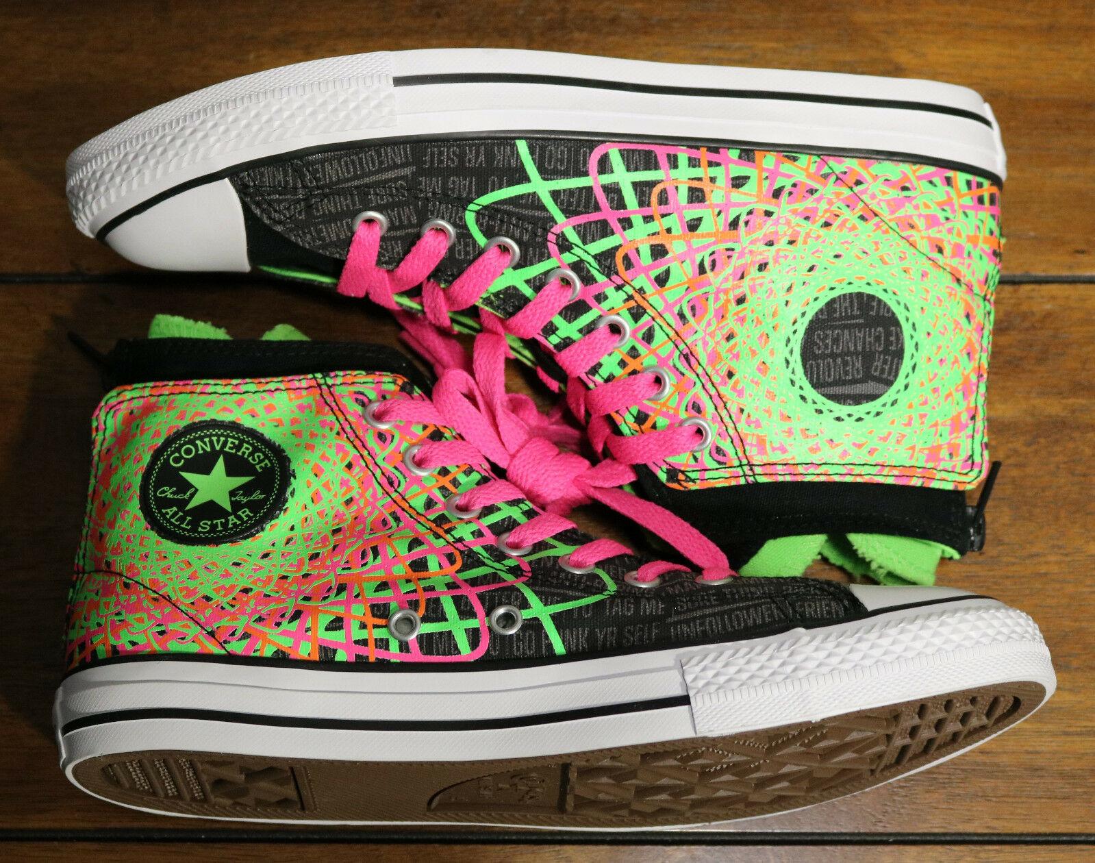 Converse Chuck Taylor All Star Zipback 649963C Black Pink Green Shoes Girls Sz 5 image 7