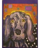 Artful Apron Weimaraner Dog Art by Mark Durham Maddog Art chef bib Purple - $26.99