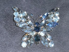 Vintage Juliana Silvertone Shades of Blue Rhinestones Butterfly Brooch Pin - $125.00