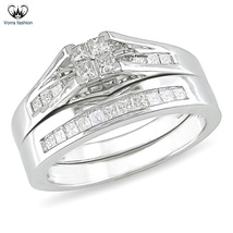 925 Silver 14k White Gold Plated Wedding Bridal Ring Set In Princess Cut... - $92.68