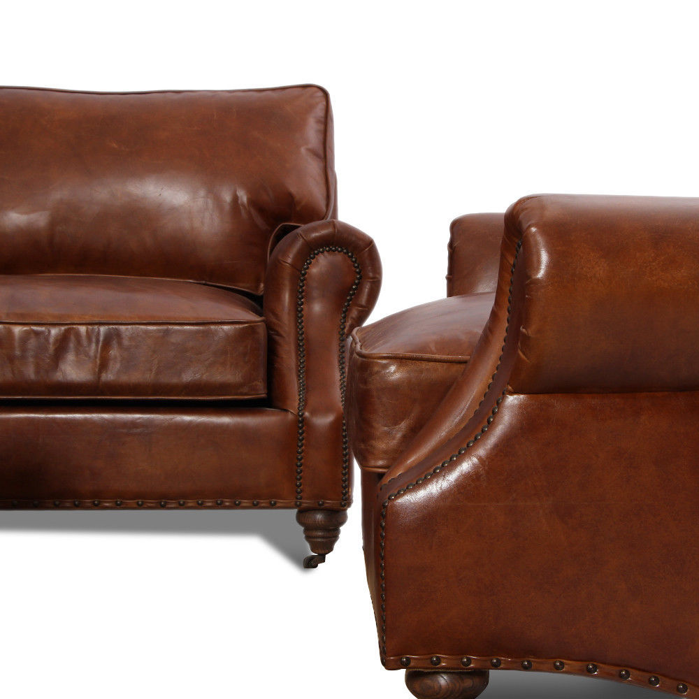 MarquessLife Handmade Antique Couch Set Sofa 100% Genuine Leather & Coffee Table