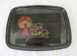 Couroc, Tray / Platter with Inlaid Mushrooms, Satin Black Phenolic, 1960's - $22.00