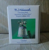 MJ Hummel Christmas Bell Ornament Goebel 1991 Harmony In 4 Parts 4th Edition  - $18.80