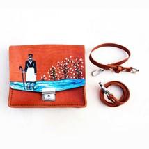 Painted Leather shoulder bag, Bag made of genuine leather, Niko pirosmani - $85.00