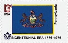 1976 13c Pennsylvania State Flag, Bicentennial Era Scott 1634 Mint F/VF NH - $1.29