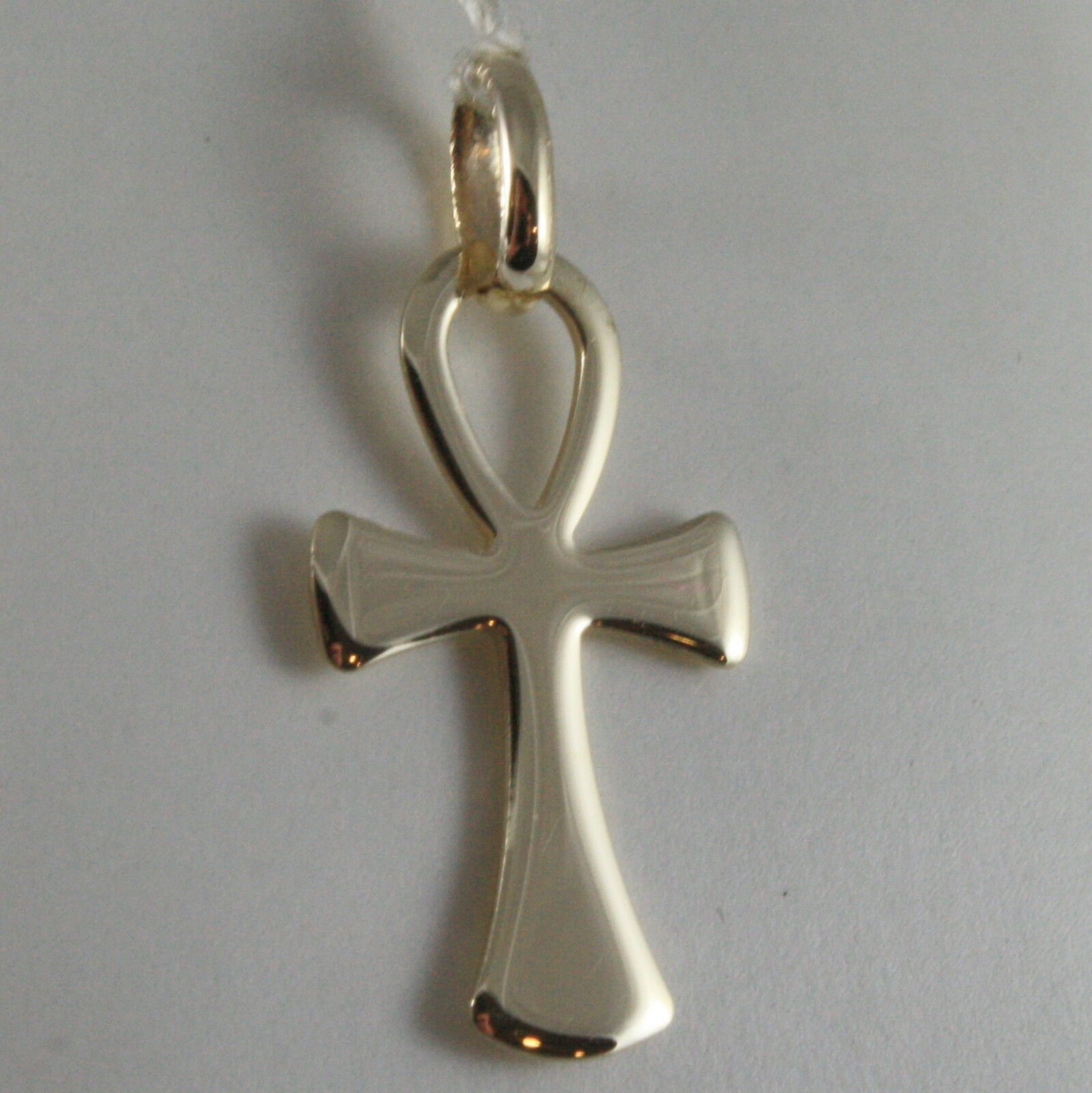 SOLID 9K YELLOW GOLD CROSS OF LIFE ANKH, MADE IN ITALY, ENGRAVABLE