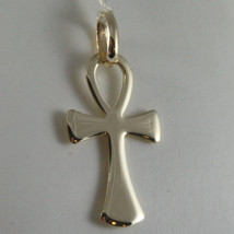 SOLID 9K YELLOW GOLD CROSS OF LIFE ANKH, MADE IN ITALY, ENGRAVABLE image 1