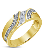 Mens 18K Gold Plated 925 Silver ICED OUT Hip Hop Prong Set CZ Pinky Blin... - $63.99