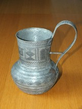 Vintage Pewter Wine Water Pitcher Jug Egyptian Etching Copper traces - $48.88
