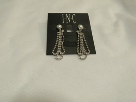 Inc Silver Tone Pearl Crystal Drop Dangle Earrings - New - $14.85