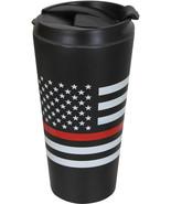 Thin Red Line Travel Coffee Mug Insulated Cup 16oz Black Thermos US Flag... - $14.99