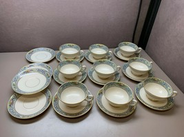 Vintage Lenox The Autumn Footed 9 Tea Cups 13 saucers Mixed Back Stamps - $247.49