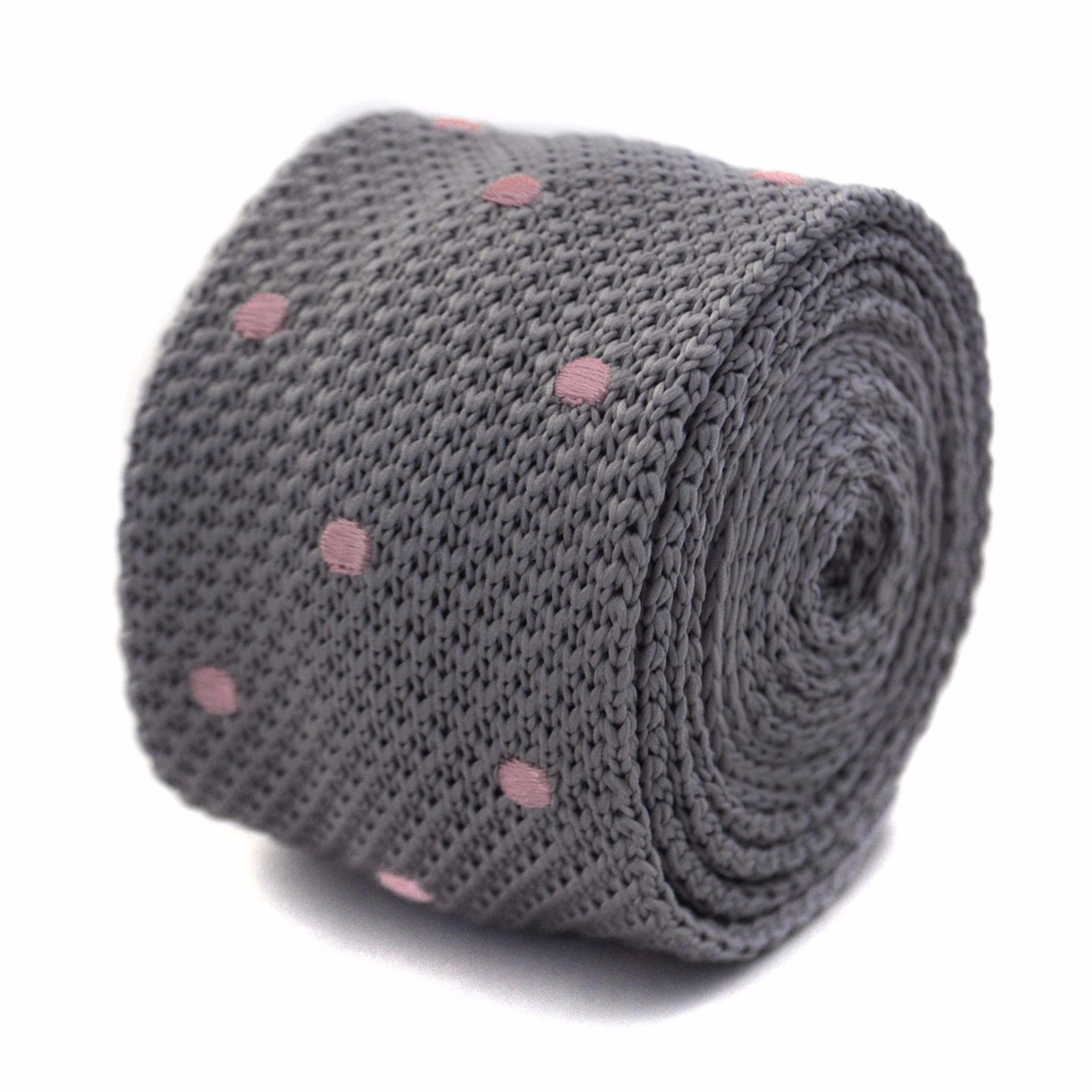 Frederick Thomas grey and pink polka spot mens knitted tie FT3298