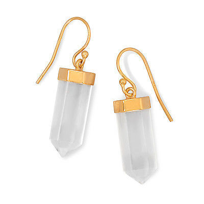 Gold plated silver quartz crystal drop earrings