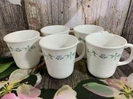 """Set Of 5 Corning 10 Oz White Mugs Cups With Blue Flower Ban """"Country Cot... - $8.15"""