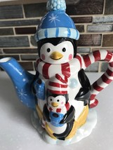 VTG PFALTZGRAFF PEGUIN PALS COLLECTIBLES CHRISTMAS MINI TEAPOT HAND PAINTED - $14.24