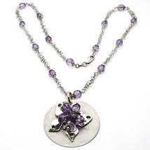 Halskette Silber 925, Disco Anhänger, Schmetterling Überlagert, Kugel Violet image 1