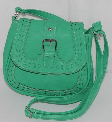 Non Branded Womens Parakeet Green Saddle Bag Purse With Shoulder Strap
