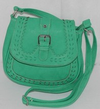 Non Branded Womens Parakeet Green Saddle Bag Purse With Shoulder Strap image 1