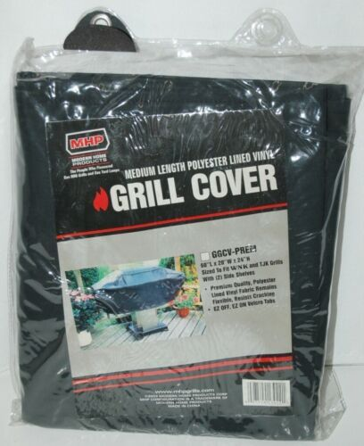 MHP GGCVPREM Medium Length Polyester Lined Vinyl Grill Cover Color Black