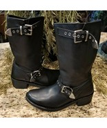 Womens HARLEY DAVIDSON Black Leather Motorcycle Riding Boots with Buckle... - $129.95