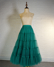Gold Apricot Floor Length Tulle Skirt Sparkle Long Tiered Tulle Holiday Outfit image 8