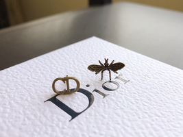 """SALE** AUTH Christian Dior 2019 """"J'ADIOR"""" EARRINGS Aged Gold Bee Wasp image 9"""