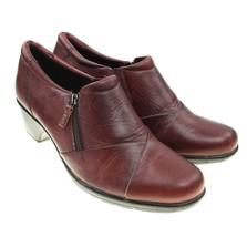 Clarks Bendables Cognac Brown Leather Zip-up Low Booties Shoes Size 9M - $24.74