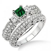 2 Carat Emerald & Sim Diamond Antique Milgrain Bridal set 14k White Gold Fn - $99.99