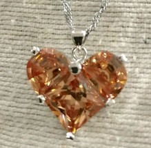 925 Sterling Silver Morganite Heart Pendant Necklace [PEN-208] - $29.70