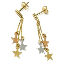 """18K YELLOW ROSE & WHITE GOLD PENDANT EARRINGS THREE WIRES, FLAT STARS, 1.5"""" image 2"""