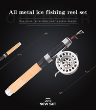 Winter Fishing Rod Combination Ice Fishing Rod with Metal Fishing Reel O... - £21.04 GBP