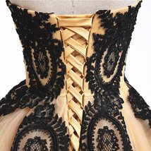 Long Ball Gown Black Lace Gothic Corset Formal Prom Evening Dresses Lavener image 4