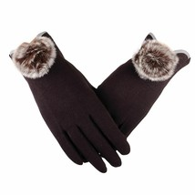 Women Gloves Winter Mittens Full Finger Pompom Wrist Fashion Touch Scree... - $9.49