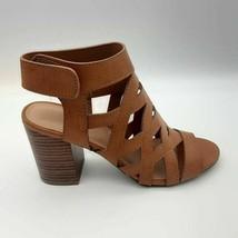 Bamboo Womens Taste-32 Gladiator Sandal Brown Hook Loop Stacked Block Heel 6 New - $21.96