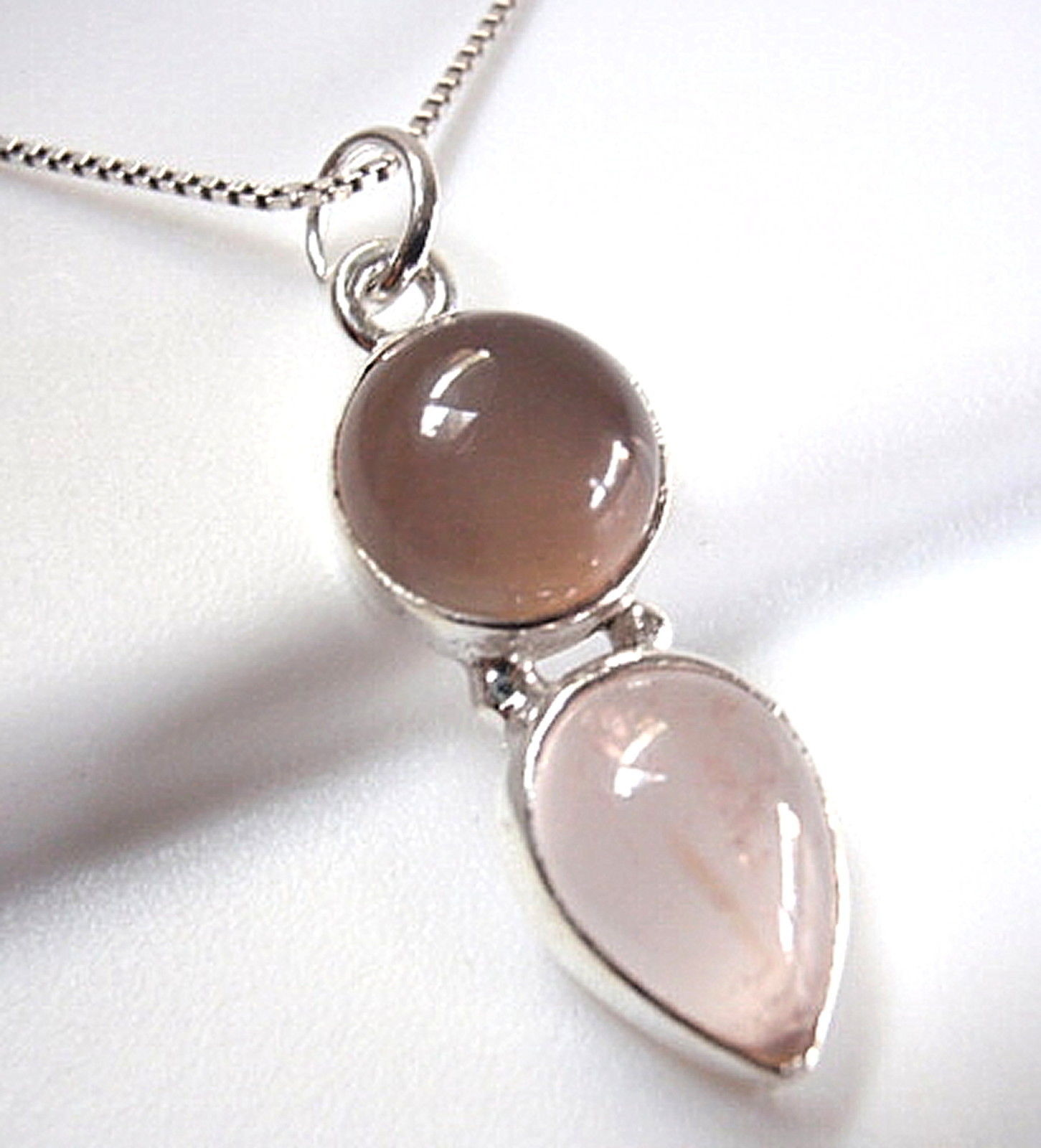 Rose Quartz Two-Tone Double Gem 925 Sterling Silver Pendant Round Teardrop #128a - $14.09