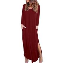 Women Dress Long Sleeve Female Split Solid Sundress 2018 Loose Women Party Maxi  - $26.87