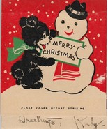 Vintage Christmas Matchbook Bear Snowman Hallmark 1938 Oversize Matches ... - $24.74